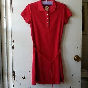Short Sleeve Red Collared Belted Mini Dress